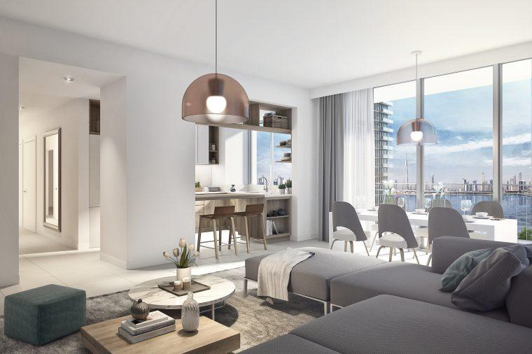 3d Interior DesigN Apartment Dubai Creek Harbour by INTERCON, UAE