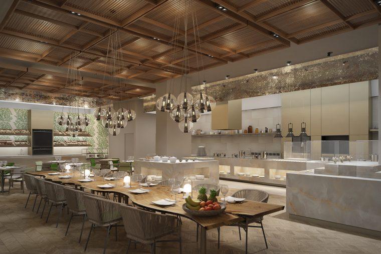 Render interiorismo restaurante hotel kempinski por intercon, congo