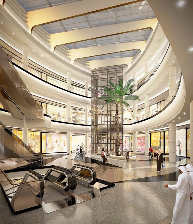 Render interiorismo Sahara Mall por intercon, UAE